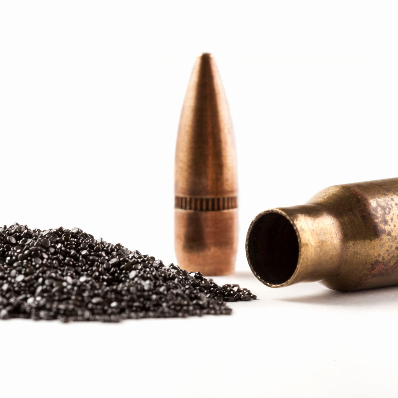a bullet casing rests on its side