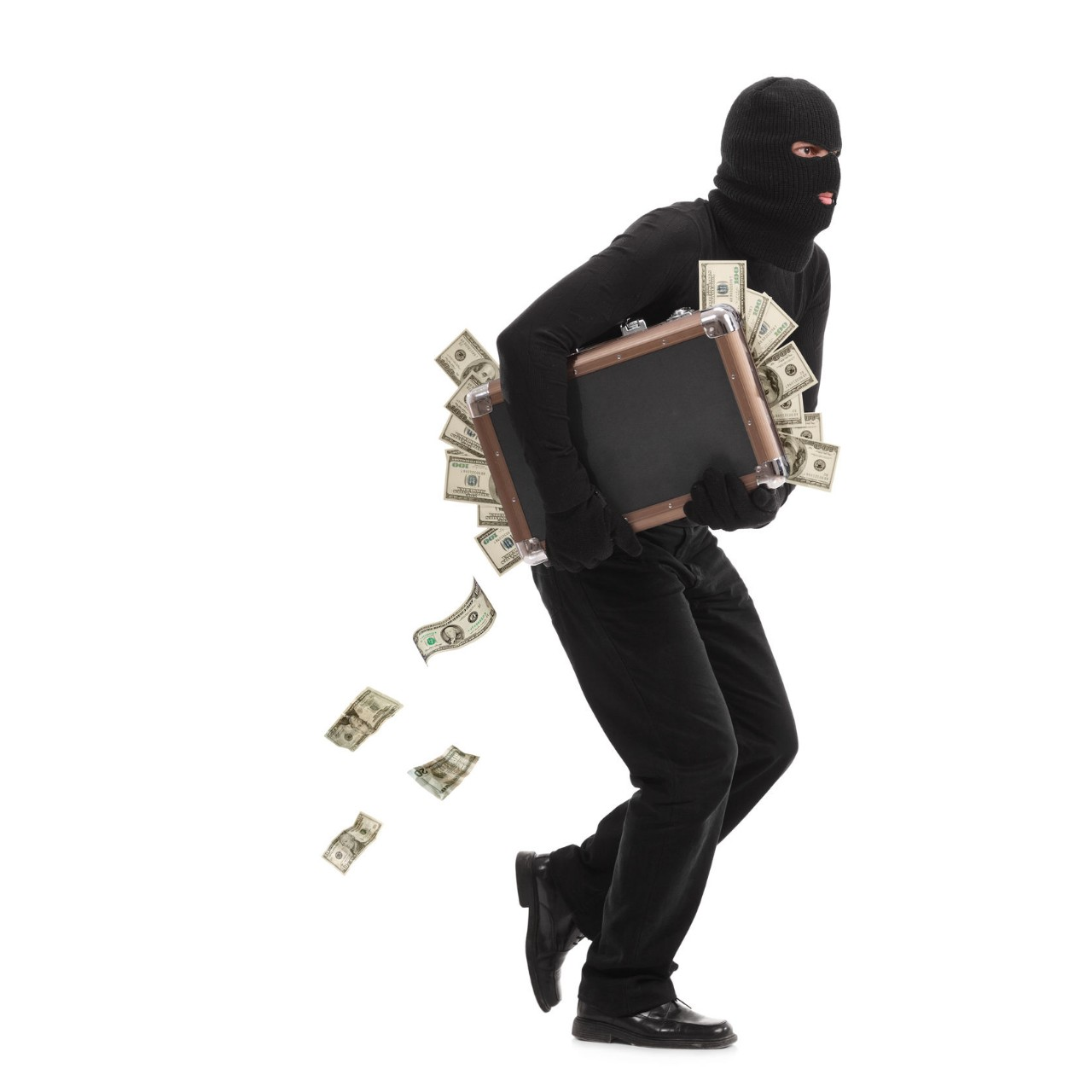 a man in a ski mask runs away with a suitcase of money
